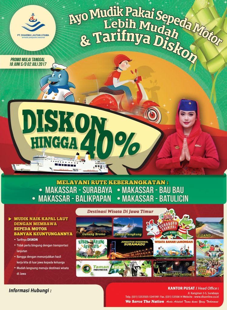 Mudik Pakai Sepeda Motor bersama kapal PT DLU dari Makassar dan dapatkan Diskon hingga 40%