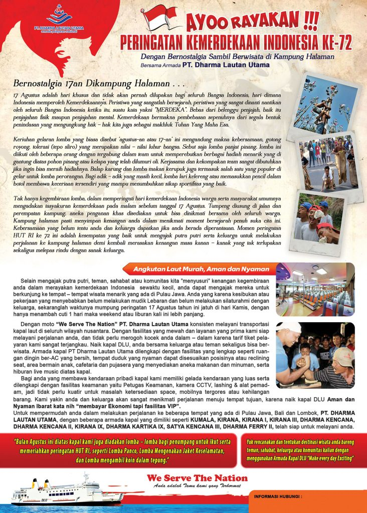 Ayoo Rayakan Peringatan Kemerdekaan Indonesia Ke-72 Bersama Armada PT. Dharma Lautan Utama