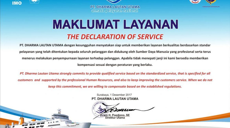 Maklumat Layanan & Standar Pelayanan Jasa Penyeberangan Penumpang dan Kendaraan, Standar Pelayanan Sewa Lahan Diatas Kapal PT. Dharma Lautan Utama