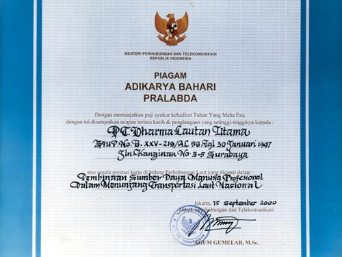 Piagam Adikarya Bahari Pralabda Tahun 2000