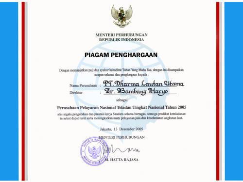 Piagam Penghargaan untuk Direktur Utama PT. Dharma Lautan Utama Tahun 2005