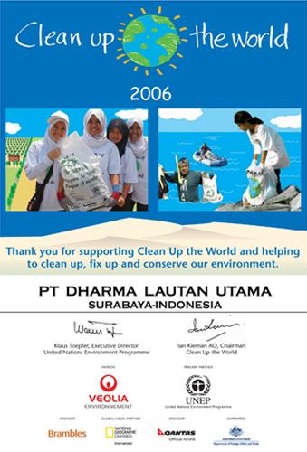 Piagam untuk PT. DLU sebagai partisipan untuk Clean up The World Tahun 2006