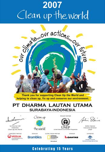 Piagam untuk PT. DLU sebagai partisipan untuk Clean up The World Tahun 2007