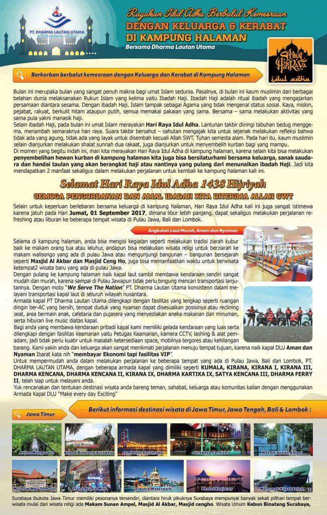 Rayakan Idul Adha 1438 H berbalut kemesraan dengan keluarga dan kerabat di kampung halaman bersama PT. Dharma Lautan Utama