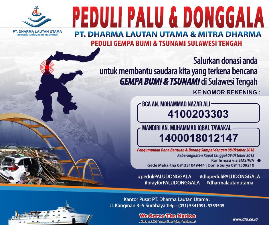 Peduli Palu & Donggala, PT. Dharma Lautan Utama menggalang bantuan kemanusiaan